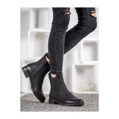 Dámske čierne členkové topánky - A8048/A-B