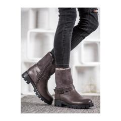 Dámske šedé členkové topánky - C168G