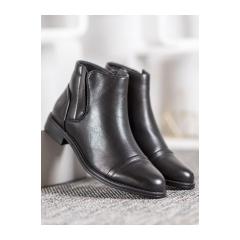 Dámske čierne členkové topánky  - A8057B