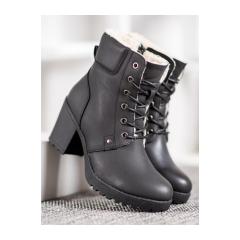 Dámske čierne členkové topánky na platforme - S1821-1B
