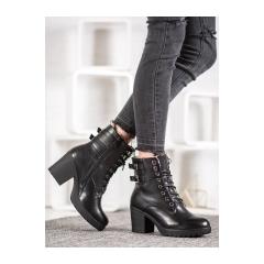 Dámske čierne členkové topánky na platforme - A8070B