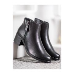 Dámske čierne členkové topánky  - A8012/A-B