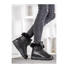 Dámske čierne členkové topánky - A07B-B