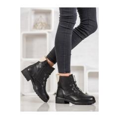 Dámske čierne členkové topánky - S1843-1B