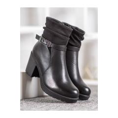 Dámske čierne členkové topánky  - T2109B