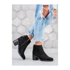 Dámske čierne semišové členkové topánky  - HF205B