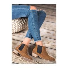 Dámske hnedé kožené členkové topánky - HW-01BR
