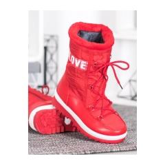 Dámske červené snehule LOVE - 608-3R
