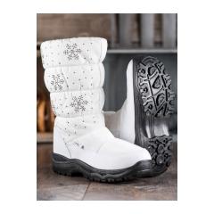 Dámske biele snehule s vločkami  - H55-2W