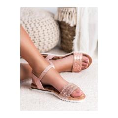 Dámske ružové sandále s kamienkami - HT-69P