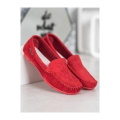 Dámske červené kožené mokasíny - OCA20-2166R