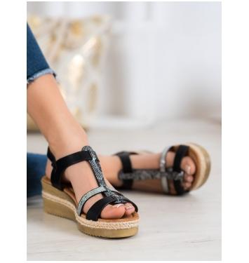 Dámske čierne sandále na kline - YQ11B