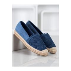 Dámske modré espadrilky s krajkou  - OM5370BL