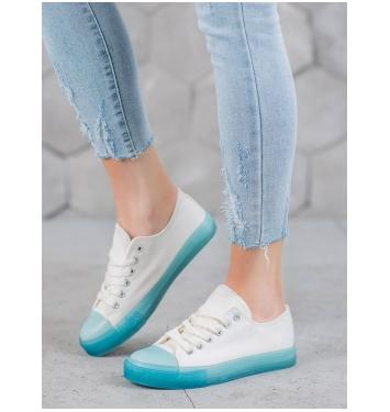 Dámske biele tenisky s modrou podrážkou  - FG-2948BL