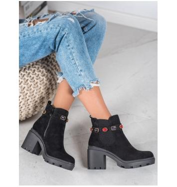 Dámske čierne členkové topánky na platforme  - YQ223B