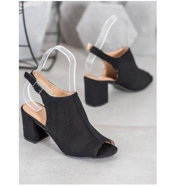 Dámske čierne sandále na stĺpcovom podpätku  - 9283NE