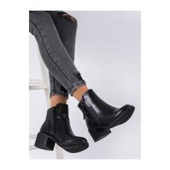 Dámske čierne členkové topánky na zips  - F807B