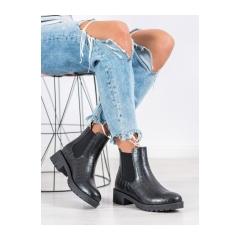 Dámske čierne členkové topánky  - BK906B