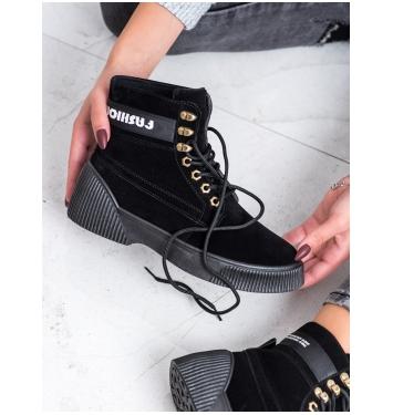 Dámske čierne členkové topánky FASHION - AB5613B