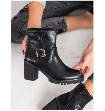 Dámske čierne členkové topánky  - E9314B