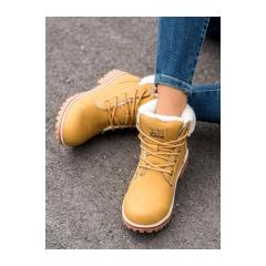 Dámske žlté zateplené trekingové topánky - BM9264Y