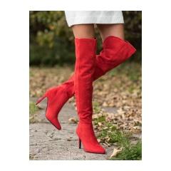Dámske červené čižmy  - OM5402R