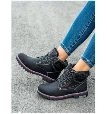 Dámske čierne zateplené trekingové topánky - BM9264B