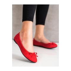 Dámske červené semišové balerínky  - 9F116R