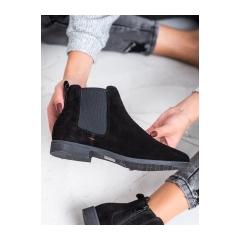 Dámske čierne kožené členkové topánky  - DBT1083/19B