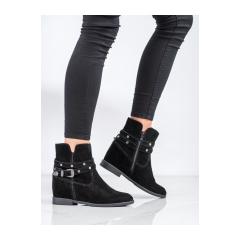 Dámske čierne kožené členkové topánky - DBT1590/20B