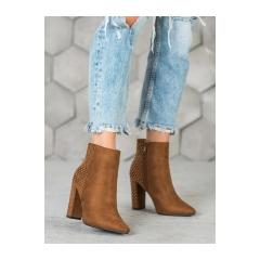 Dámske hnedé semišové členkové topánky  - NC899C