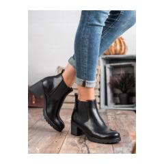 Dámske čierne členkové topánky  - XY20-10485B