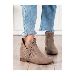 Dámske hnedé členkové topánky na kline - DBT2070/21BE