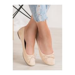 Dámske béžové semišové balerínky - 98-32BE