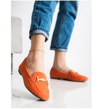 Dámske oranžové mokasíny - 88-383OR