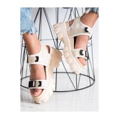 Dámske béžové sandále na platforme  - NS191BE