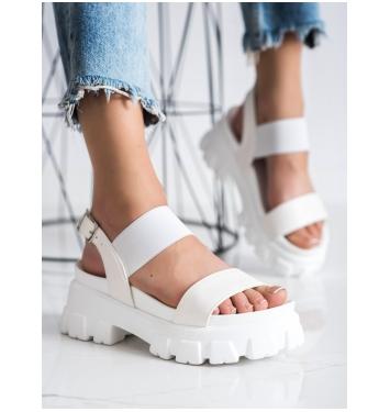 Dámske biele sandále na platforme FASHION  - NS192W