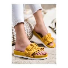 Dámske žlté šľapky na platforme - 7-2066Y