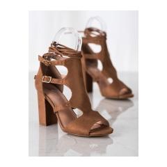 Dámske hnedé sandále  - 168-231C