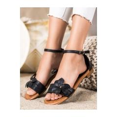 Dámske čierne ploché sandále  - LT1719B