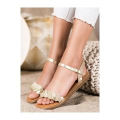 Dámske zlaté ploché sandále  - 123-5GO