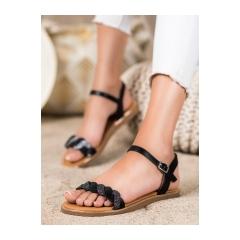 Dámske čierne ploché sandále  - 123-5B