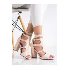 Dámske béžové sandále s viazaním - 168-231BE