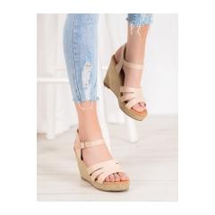 Dámske béžové sandále na kline  - BL-20BE
