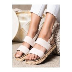 Dámske béžové sandále na platforme  - 7857BE